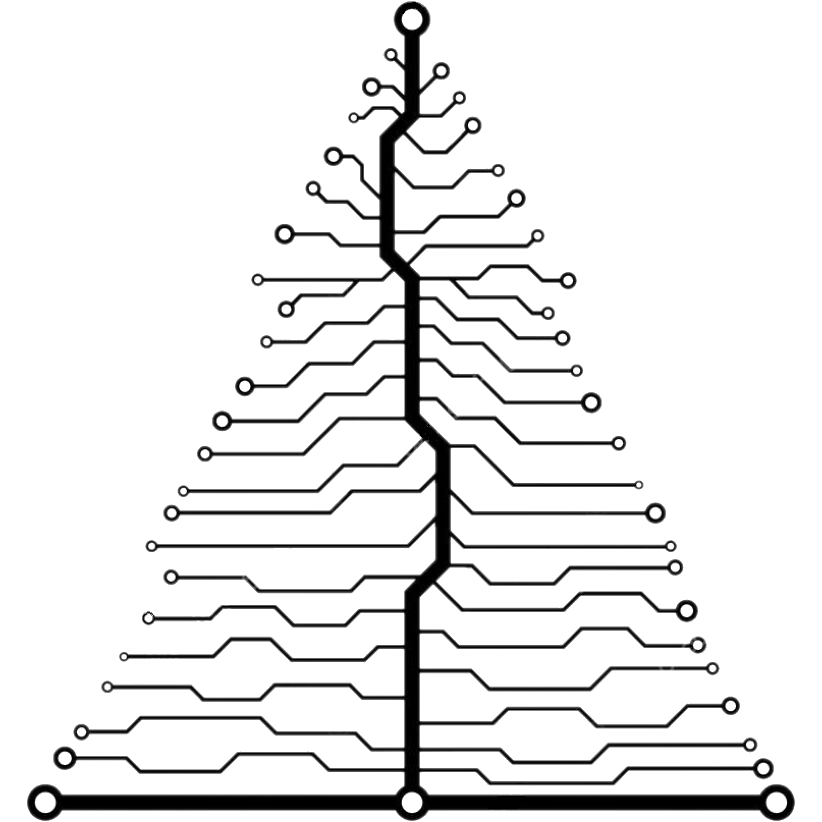Evergreen Circuits Mark, a circuitboard that looks like an evergreen tree